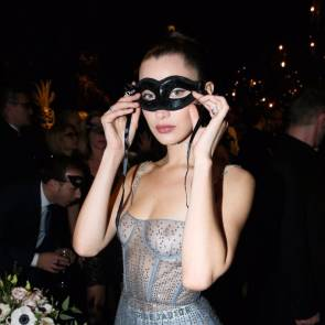 Bella Hadid naked boobs and mask