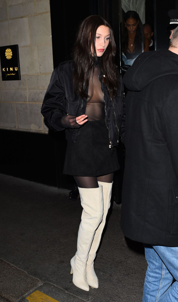 Bella Hadid Boobs Out Night Out - [9 NEW PHOTOS]