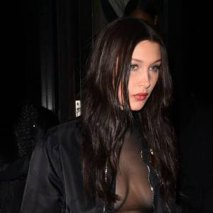 Bella Hadid Boobs Out Night Out