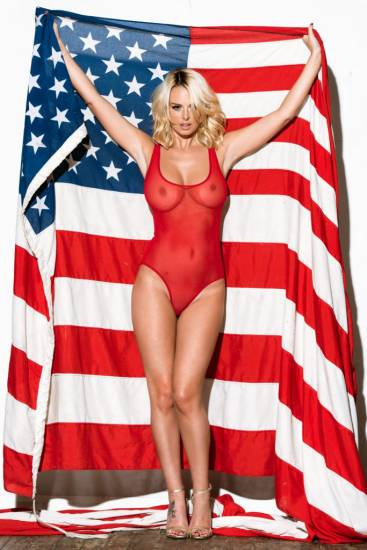 Rhian Sugden topless with american flag