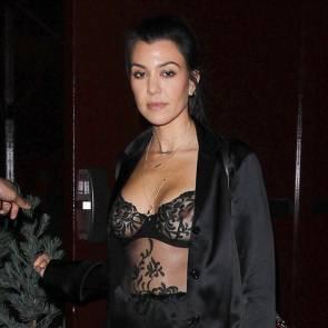 kourtney kardashian sexy see thru bra