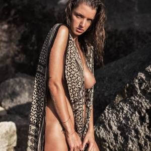 Alyssa Arce nude posing on the beach