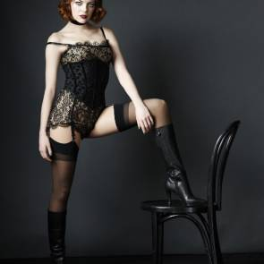 Emma-Stone-Half-Nude-With-Wig-in-Sexy-Corset-and-Slutty-Stockings