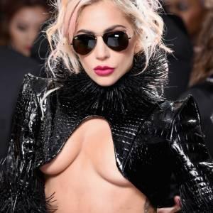 Lady Gaga shows under boob slip in public