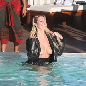 Candice Swanepoel Topless By The Pool