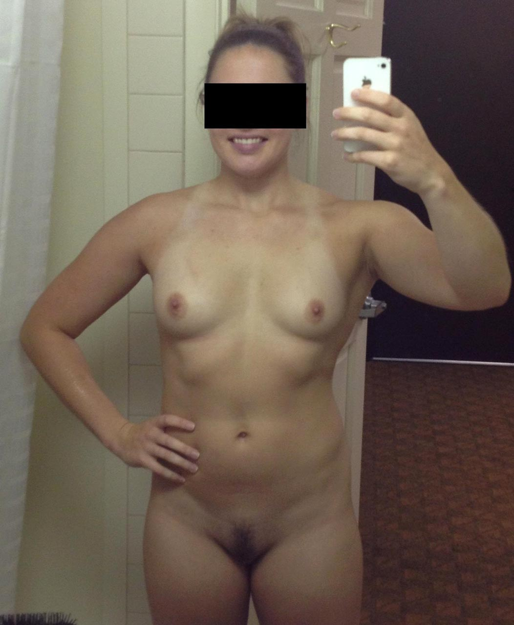 Big blonde shaved titted