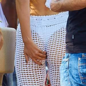 Bella Hadid Sexy In White Fishnet