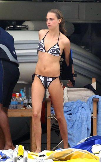 Cara Delevingne black and white bikini