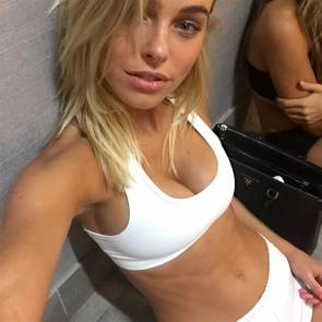 Elizabeth Turner sexy in white top