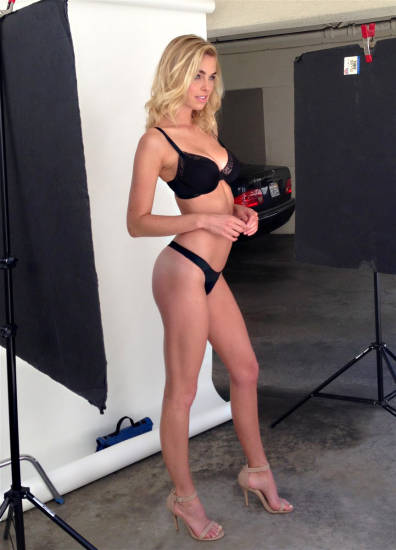 Elizabeth Turner long legs and sexy black lingerie