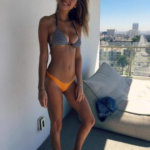 Elizabeth Turner sexy in orange panties