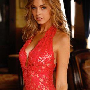 Elizabeth Turner sexy red lingeire