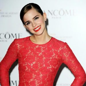 Emma Watson Nipples In See Through Red Dress!