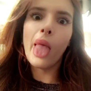 bella thorne tongue making funny face