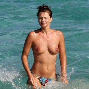 Paulina Porizkova nude tits on the beach
