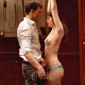 Dakota Johnson Topless Whipping Scene From 'Fifty Shades of Grey'
