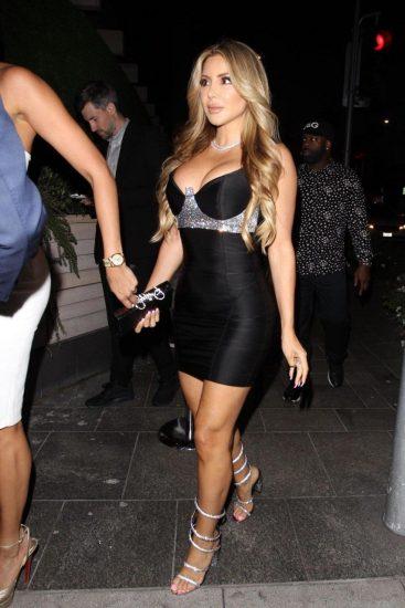 Larsa Pippen fake tits in black dress