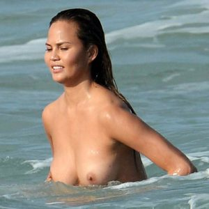 Chrissy Teigen Topless Photo Shooting at Miami Beach
