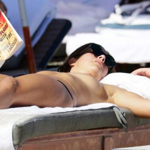Actress Lucy Aragon Topless Sunbathing In Miami