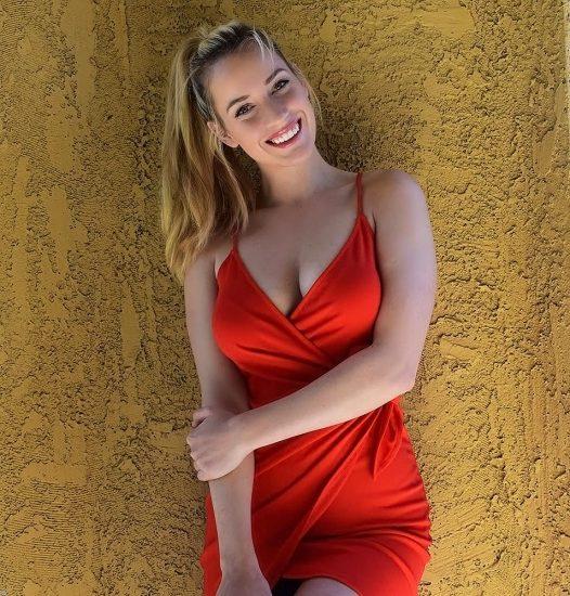 Paige Spiranac boobs in red dress