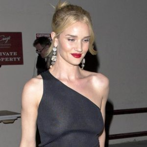 Rosie Huntington Whiteley Nipples Seen in See Through Black Top