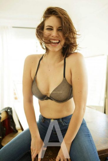 Lauren Cohan in jeans and bra only