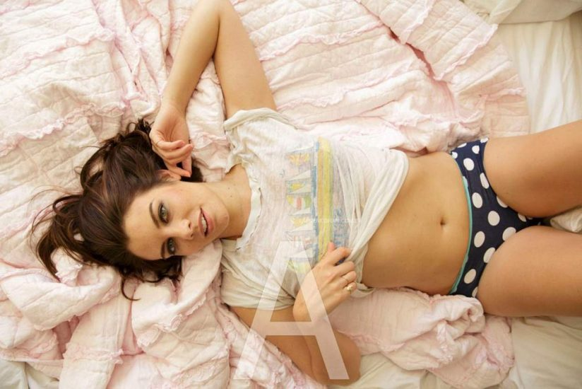 Lauren Cohan panties and shirt ready to sleep