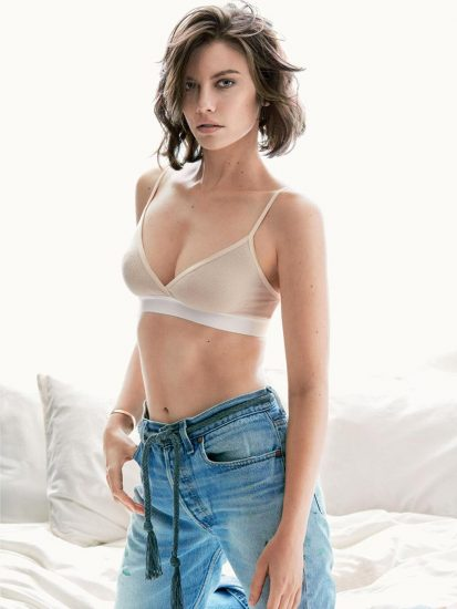 Sexy Lauren Cohan posing in jeans and white bra