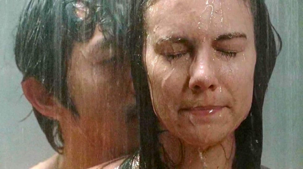 Lauren Cohan showering with a man