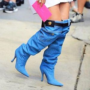 Jennifer Lopez Versace Denim Boots Will Make You Wonder !
