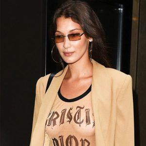 Hottie Bella Hadid Goes Braless in Dior T-Shirt