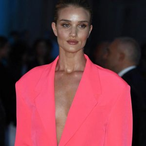 Rosie Huntington-Whiteley Braless for Versace's Fashion Show