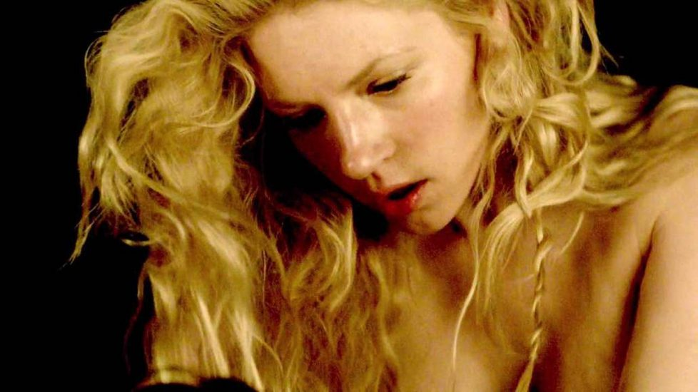 Katheryn Winnick sexy face as she rides the guy