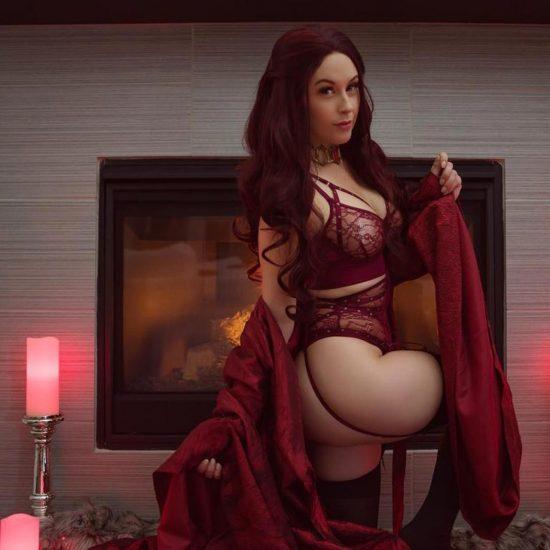 Meg Turney ass in red lingerie