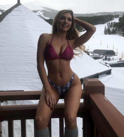 Molly Eskam sexy lingerie on the snow