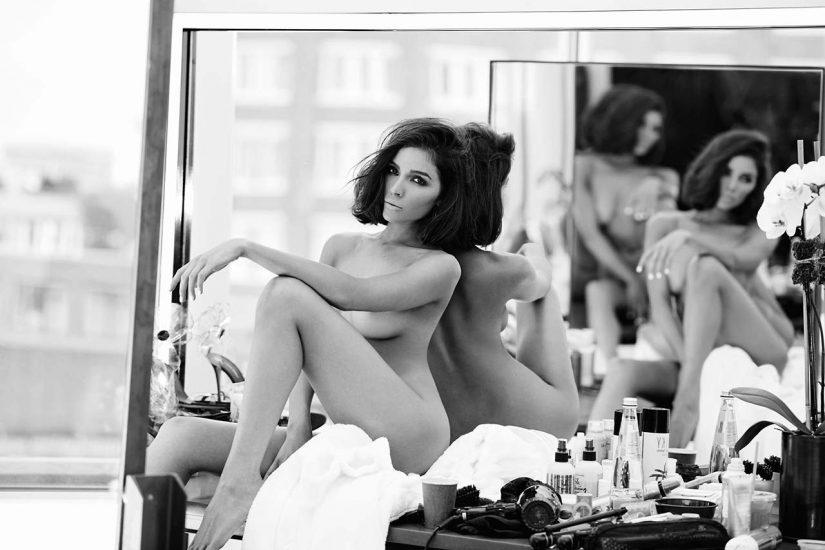 Olivia Culpo nude beside the mirror