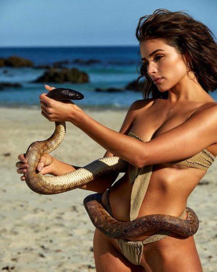 Olivia Culpo with snake