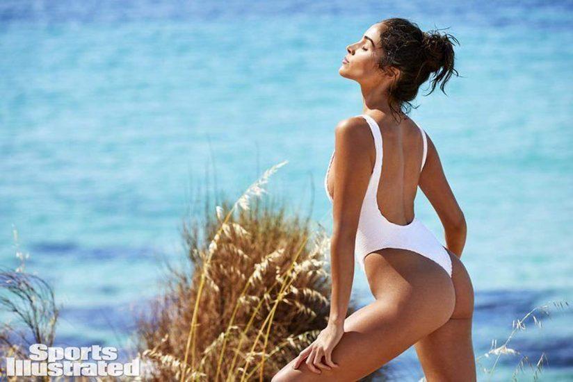 Olivia Culpo white swimsuit