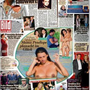Penelope Cruz Nude topless tits in magazine