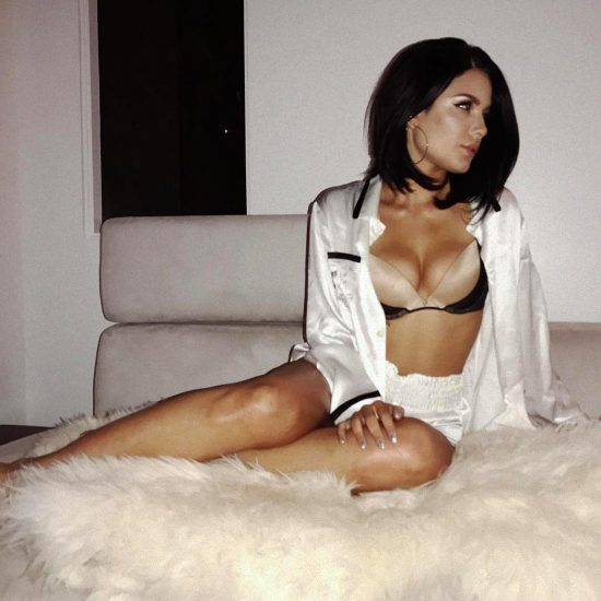 Halsey white shirt and lingerie