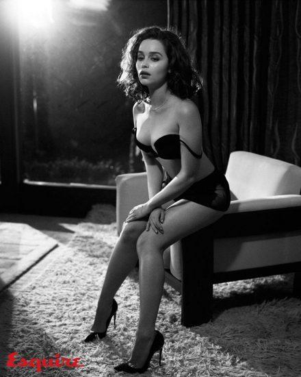 Emilia Clarke hot in black lingerie