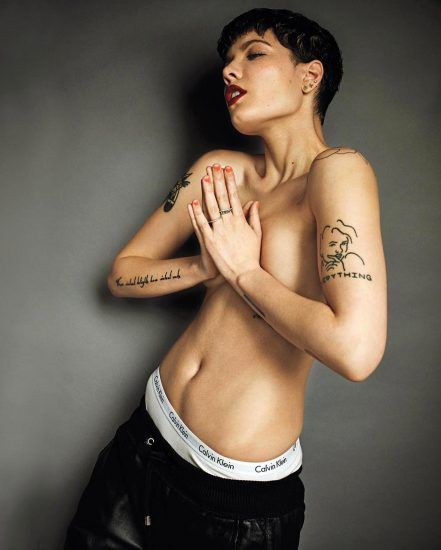 Halsey covered topless