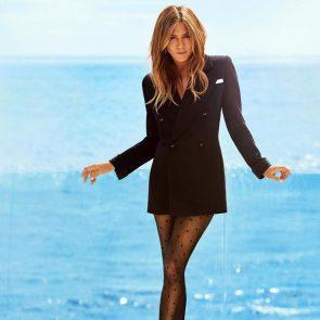Jennifer Aniston sexy in black coat