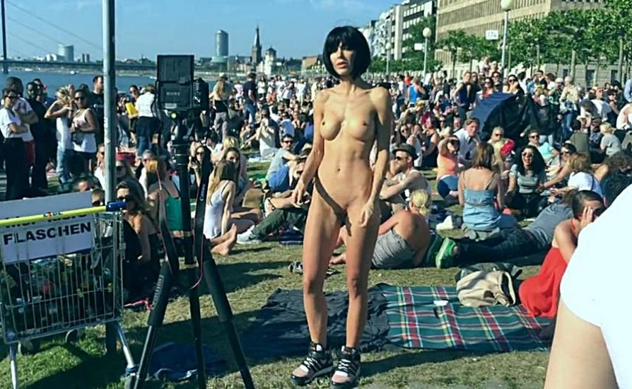 Milo Moire fully nude in the street