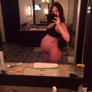Megan Fox fully nude selfie with prego belly