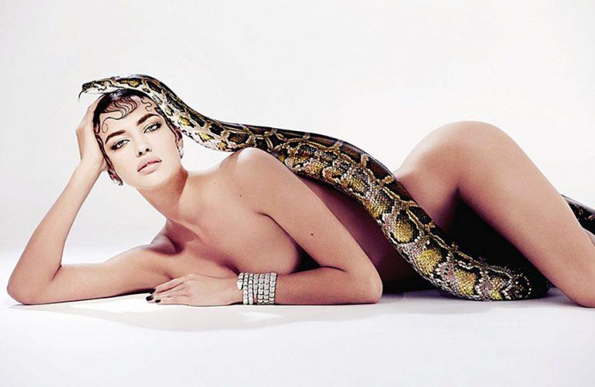 Irina Shayk posing with snake