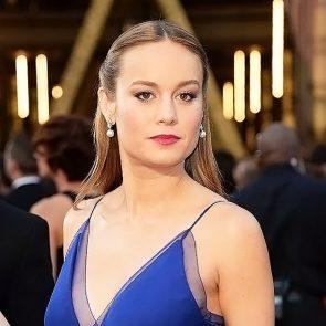 Brie Larson boobs in blue dress