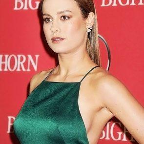 Brie Larson boobs in green dress
