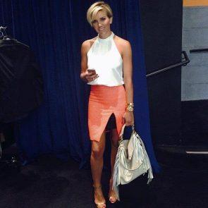 Charissa Thompsonsexy orange skirt