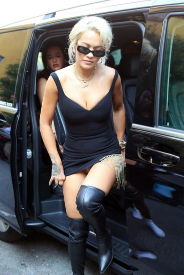 Rita Ora upskirt from black dress